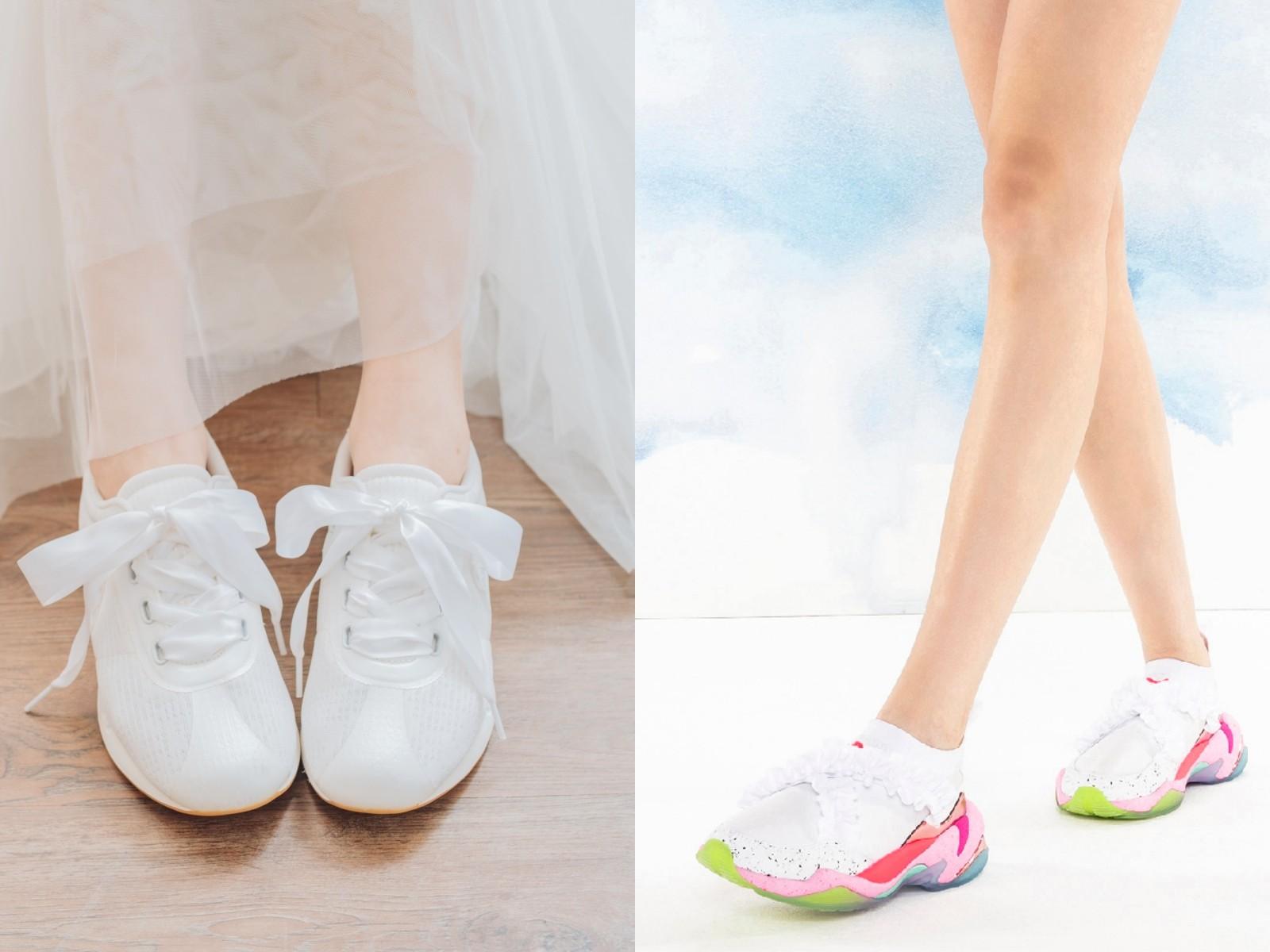 小清新风正流行! 7双搭配白纱也梦幻的「婚纱球鞋」