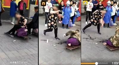 殘疾男強抓大腿 大媽「壓頂」反制