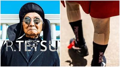 阿公都比你潮!84歲爺爺「穿OFF-WHITE種田」 痠痛貼布變時尚單品
