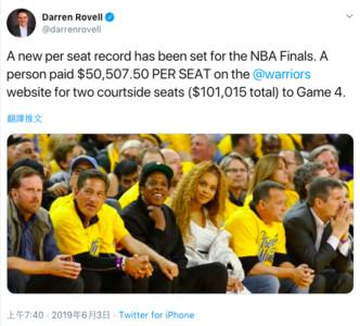 5.05萬美元一張NBA門票創最貴紀錄