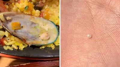 吃海鮮燉飯「咕咚一聲」差點掉牙!吐出硬物一看:是天然珍珠啊啊