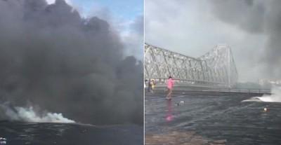 印化學倉庫起火 近地標豪拉大橋