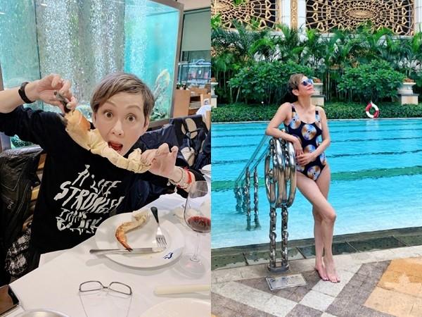 ▲▼余安安和2個女兒去澳門度假,泳裝辣照超驚人。(圖/翻攝自微博/余安安)