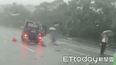 國道再傳客運車禍 男子飛撞擋風玻璃倒地大雨中待救