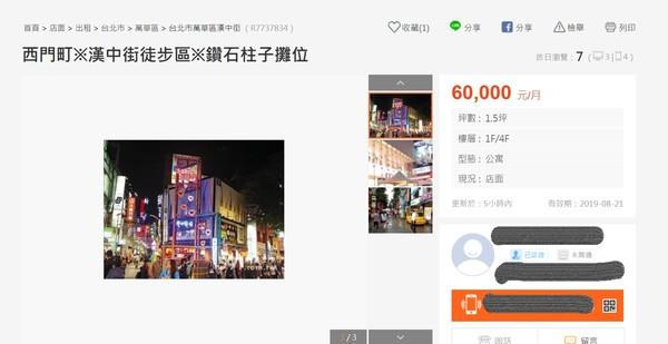 ▲▼西門町商圈1根柱子開價6萬元招租。(圖/翻攝自591房屋交易網)