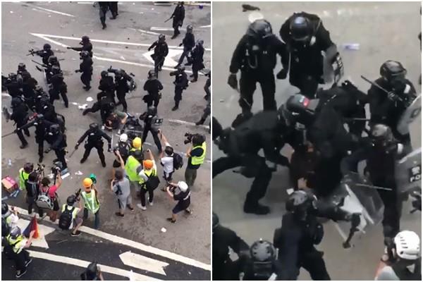 27秒影片曝光!黑衣港警圍毆示威者 網嚇壞瘋傳