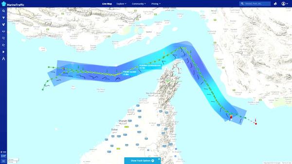 ▲▼阿曼灣油輪遭襲擊事件,2艘油輪位置圖。(圖/路透)
