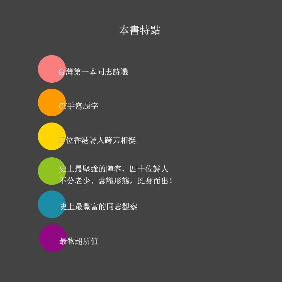 ▲▼台灣第一本同志詩選誕生!40位詩人華麗陣容撕掉「噁心、濫交」標籤(圖/「同在一個屋簷下:同志詩選編輯小組」提供)