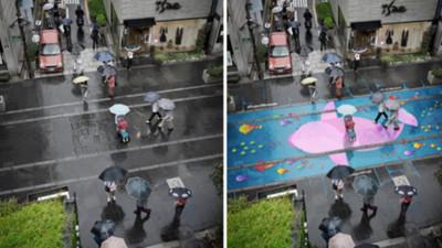 下雨後,馬路上出現一片海洋!「雨季計畫」讓人開始期待雨天
