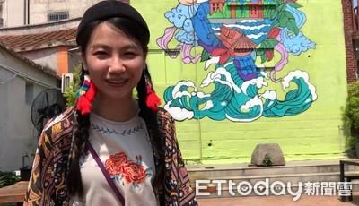 台南妹塗鴉賽畫「門神抱沙茶麵」