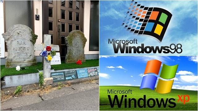 悼念死掉的Win系列 公司門口擺三墓碑! 走近竟發出「開機啟動音」