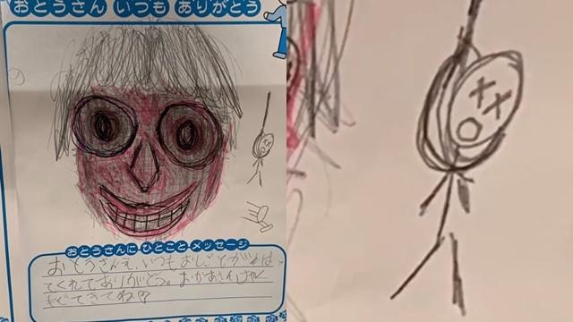 父親畫像漲紅臉 旁邊多了「上吊小人」 網:擔心這孩子在求救