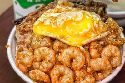 基隆排骨飯「半熟蛋+爆滿炸蝦仁」