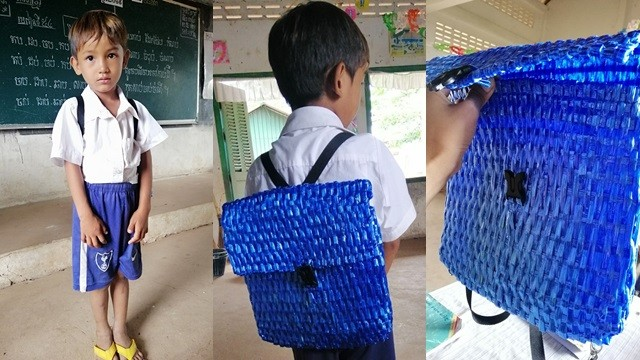自責沒錢買書包!窮父善用「一綑塑膠繩」熬夜編織 完美成品裝滿愛