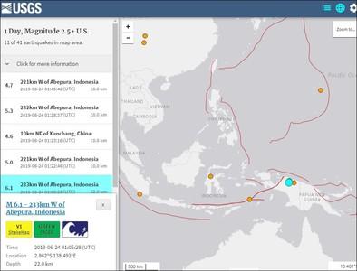 印尼發生規模6.1強震 深度22公里