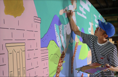 插畫家「街頭藝術」引圍觀 女孩兒尖叫掏相機:我的大學回憶!