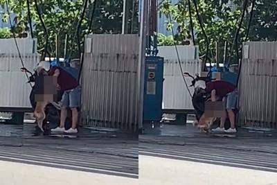 台中騎士單手拎柴 拿高壓水槍沖