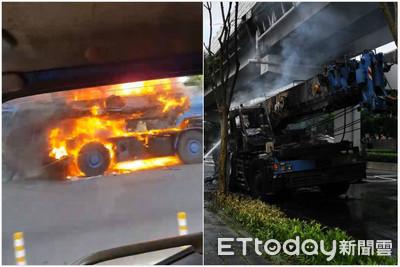 千萬吊車燒爛!業者嗆駕駛:你乾脆被燒死