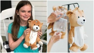 每8周進醫院輸血!罕病女童自製「吊掛泰迪熊」 巧妙遮擋可怕點滴袋