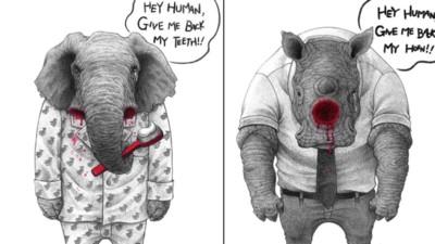嘿人類,把我的牙齒還給我!插畫家畫出動物對人類的沈重控訴