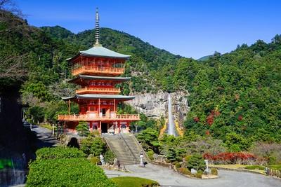 日本和歌山楓紅絕景!泡湯看海