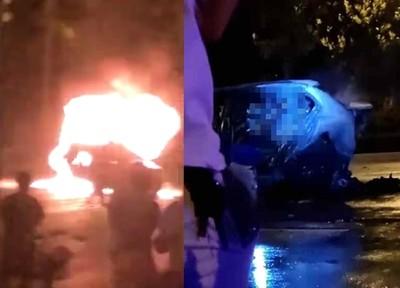 23歲女開瑪莎拉蒂追撞 BMW「變火球」飛出
