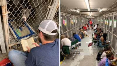 美國國慶煙火嚇到浪浪!300人帶椅子毛毯到收容所 小聲念書伴狗入眠