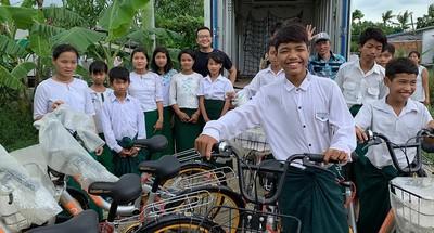 緬甸創業收購單車助貧童上下學