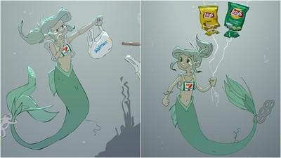 吃菸蒂、穿塑膠袋 「垃圾版小美人魚」卻露天真笑容 點出海洋環境悲歌