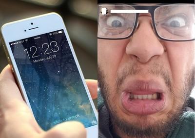 iPhone賊自拍瞪眼翻下唇 網笑翻