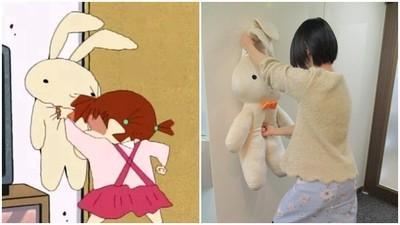 最狂出氣包!蠟筆小新「妮妮兔娃娃」實體化 90公分特大版讓你練拳頭