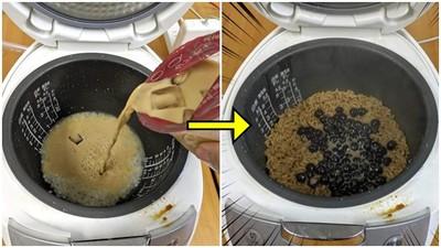 「波霸珍奶混白米」倒進飯鍋煮!15分鐘後…奶香濃厚、飯粒超Q彈
