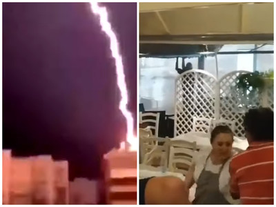 毀滅性「巨雷閃電」狂襲 驚悚強光遊客嚇壞
