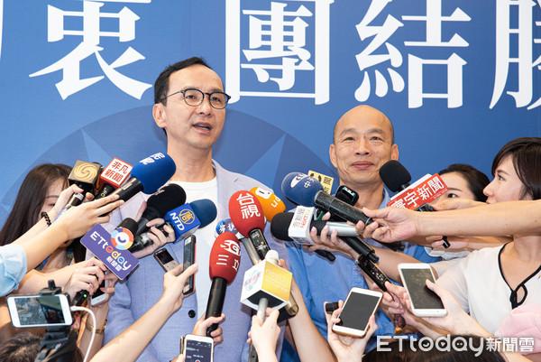 ▲▼國民黨公布初選民調結果後韓國瑜拜會朱立倫。(圖/記者季相儒攝)
