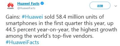 Gartner:華為手機今年Q1出貨量成長44.5% 全球市佔率15.7%!