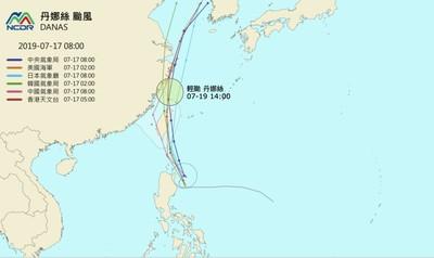 美韓預測「丹娜絲」從花東登陸北部出海