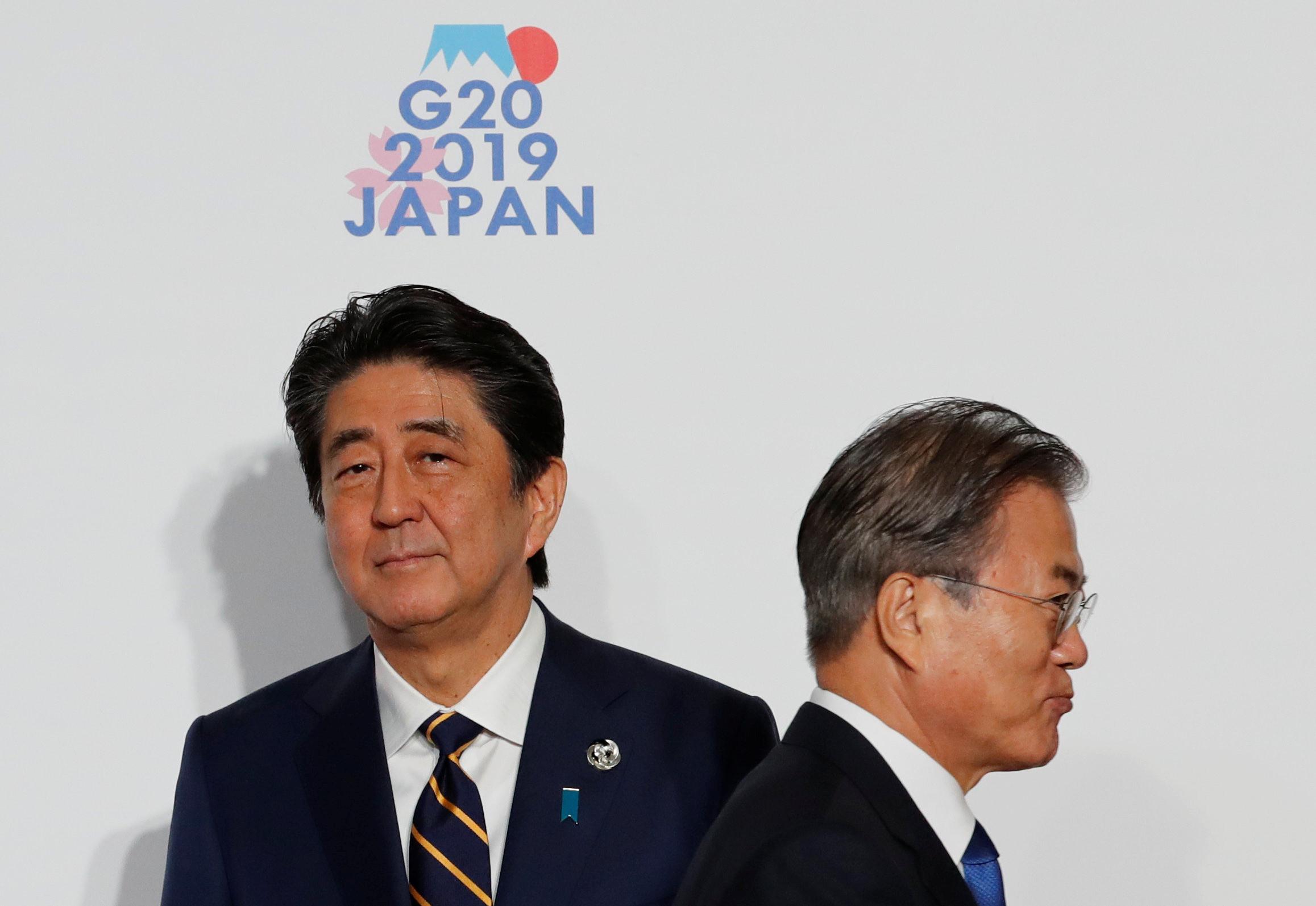 ▲▼南韓,日本,G20,文在寅,安倍晉三(圖/路透社)