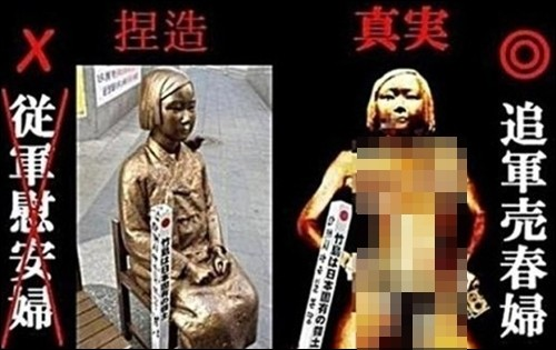 ▲▼日本右翼人士惡搞慰安婦像(圖/翻攝自網路論壇)
