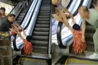 婦下半身手扶梯卡縫隙 左腿被截斷