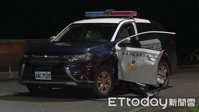 高雄警車遭撞 無照男衝撞毀車門