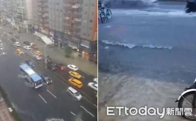 大雨狂襲台北 東區SOGO前淹成河