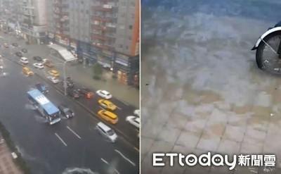影/台北市區「腳踏車在水上漂」 雙北市發佈一級淹水警戒