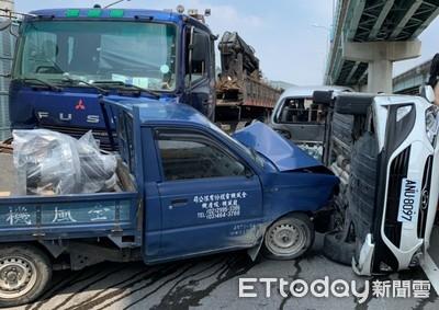 貨車追撞3車 台64五股路段回堵