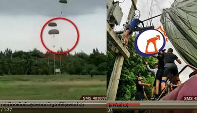 跳傘遇大風 新兵焦黑懸掛高壓電上
