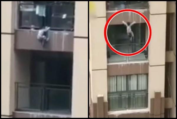 ▲▼男童爬出陽台後支撐了一段時間,卻仍舊體力不支墜樓。(圖/翻攝自梨視頻)