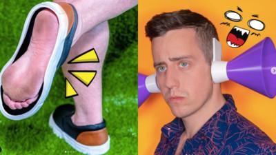 「踏青鞋」就要踩到草!型男發明家專造廢物 使用前請拋棄羞恥心
