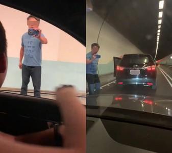 不要命 國五雪隧內攔車拍照存證