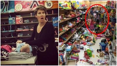 恐龍家長超級瞎!服飾展示台上換尿布 放任小孩摧毀玩具店