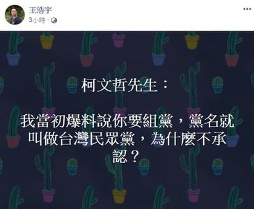 柯要組黨 王浩宇:當初為何不承認