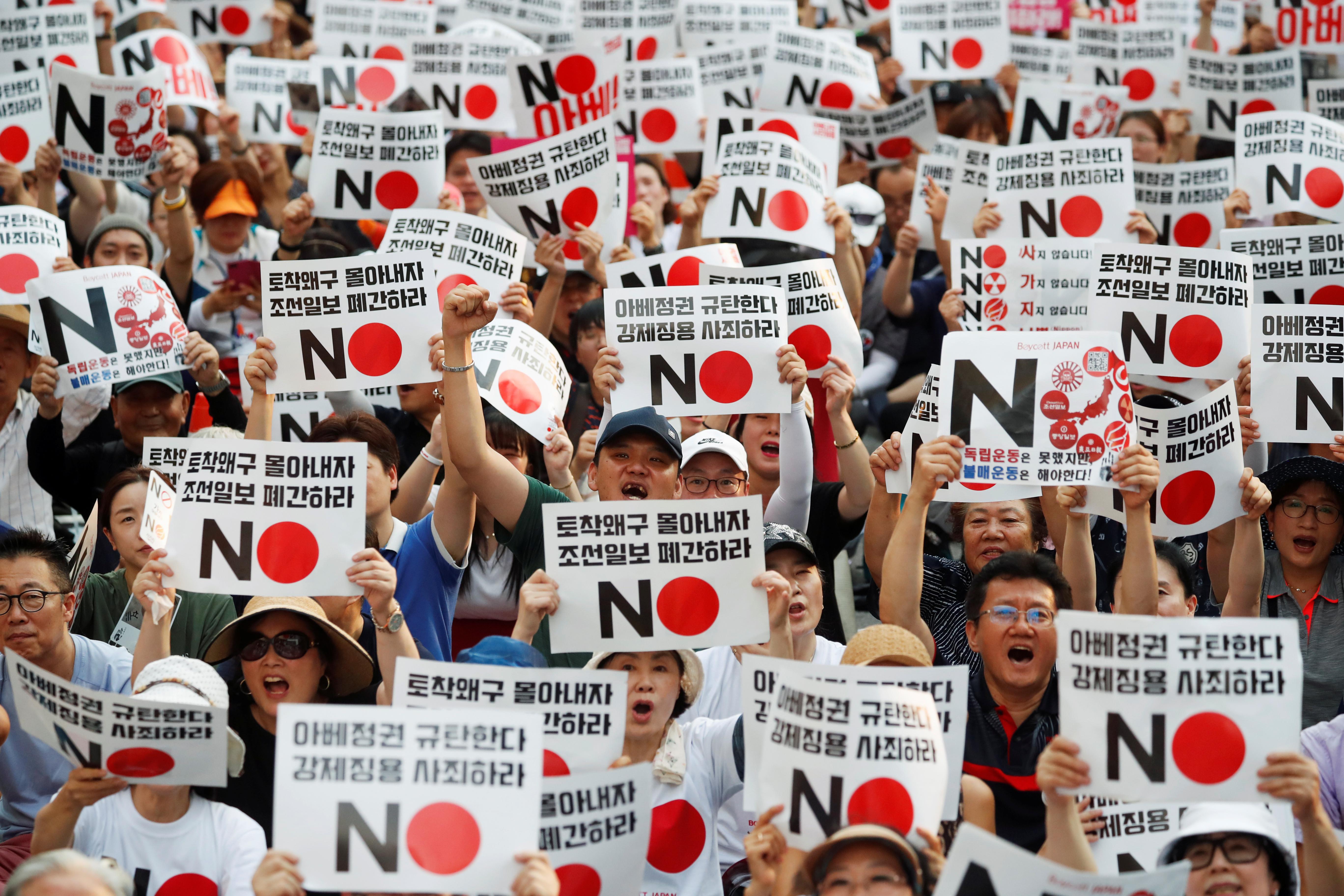 ▲▼日韓貿易戰升溫,南韓民眾上街發起抵制日本運動。(圖/路透社)